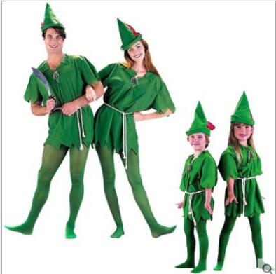 free shipping New arrive!!Adult/Kids green peter pan costumes,uniex Halloween Costume for Men Women (hat+Dress+stockings)