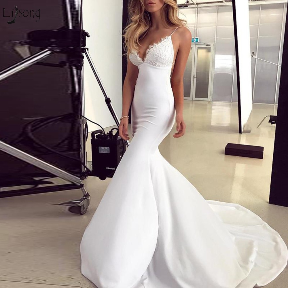 Backless Wedding Dresses 2019: Sexy Backless Lace Wedding Dresses 2019 Elastic Fabric