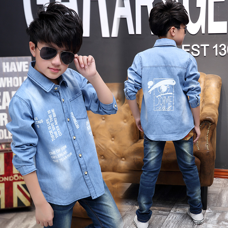 2017 Spring and Autumn Hot Fashion denim Children s shirt 5 13 year old boys shirt