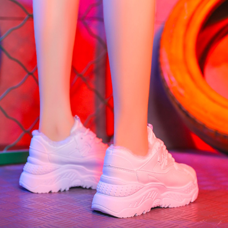 De Plate Chaud forme up Femmes Cuir Blue white En Casual D'hiver Dentelle Nouvelle Black Mode Pu Women Peluche Sneakers Appartements Sneakers Chaussures aqAwS