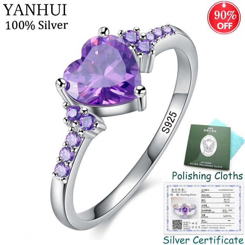 Sent Certificate! 925 Solid Silver Heart Ring Fashion Purple Crystal Wedding Rings Romantic Jewelry for Women CR988