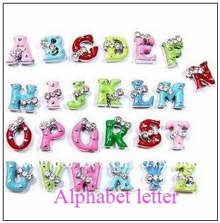 Mixed Color 26pcs-520pcs 8mm Bow Tie Crystal Slide Letter charms Fit DIY Pet Collar Brac ...