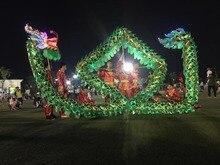 цены на 4m Length Size 5 Gold-plated 4 student  LED lights Chinese DRAGON DANCE ORIGINAL Dragon lantern stage prop Festival Costume  в интернет-магазинах