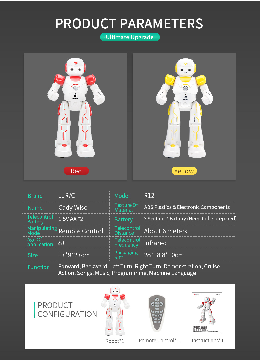 JJRC R12 Remote Control Smart Robots Cady Wiso RC Robot Gesture Sensing Touch Intelligent Dancing Electronic Toy For Children (12)