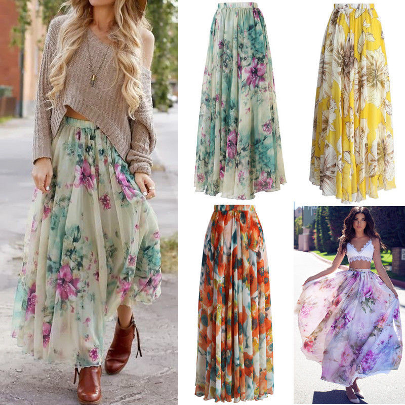 Casual Summer Chiffon Skirt Women High Waist Pleated Floral Printing Clothes Pretty Sweet Skirt For Ladies