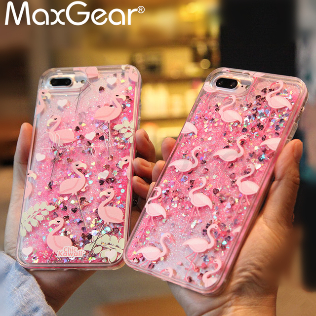 f1de871a7f MaxGear Cute Cartoon Unicorn Liquid Quicksand Glitter Case For iphone 7 8  plus Cover for iphone 6 6s X 10 Flamingos Coque Fundas-in Fitted Cases from  ...