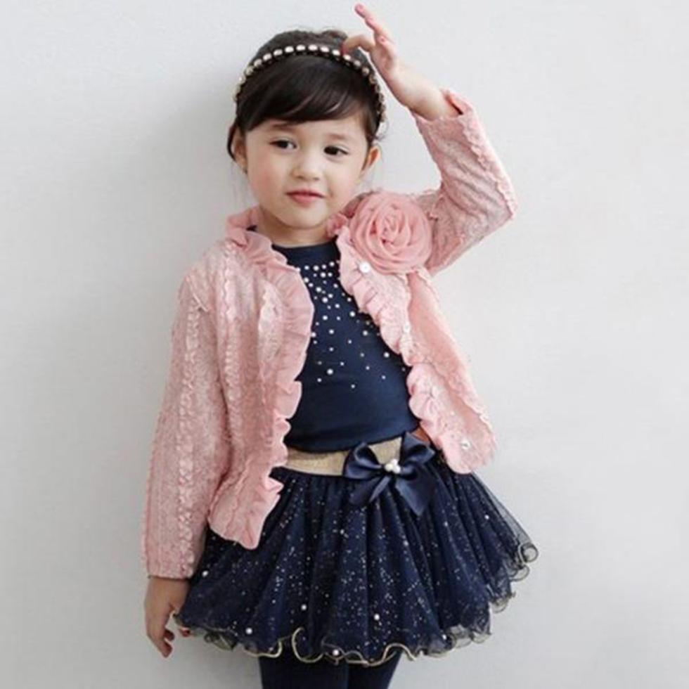 3pcs Baby Girls Clothing Sets Coat+T-shirt+Skirt Dress Tutu Princess Kids Clothes Set Suit Pink Costume Hot anime sakura akizuli nakuru cosplay costume blue suit shirt coat skirt tie d