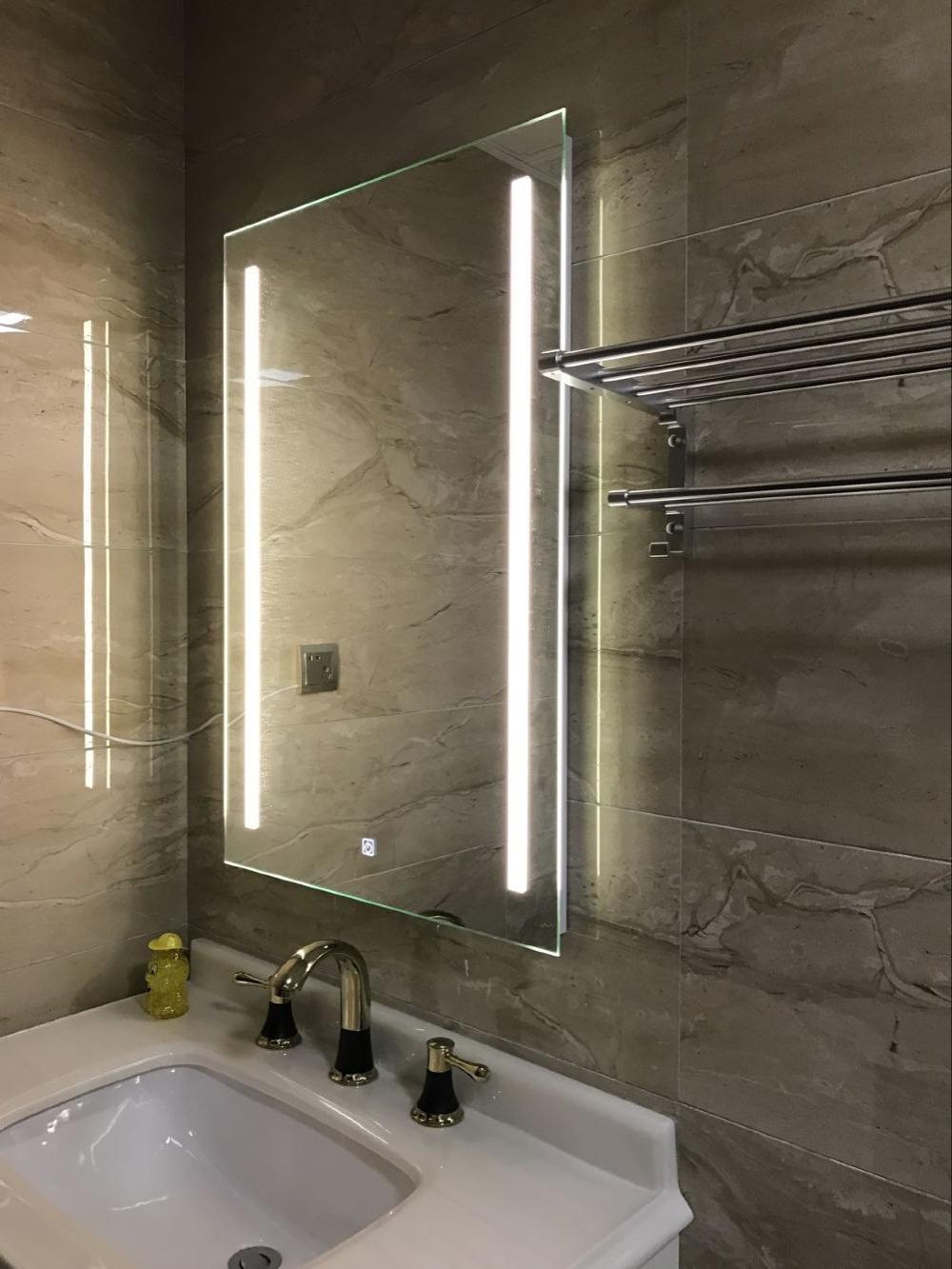 diyhd montaje en pared led con luz espejo de bao rectangular desempaador luces verticales vanidad espejo lige