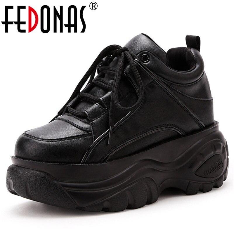 FEDONAS Mode Ronde Neus Hoogte Toenemende Womne Pompen Lace Up Platforms Comfortabele Vrouwen Sneakers Casual Party Schoenen Vrouw-in Damespumps van Schoenen op  Groep 1
