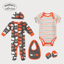 Mother's Choice  Baby  5pcs Set  Baby long-sleeve and short-sleeve Rompers, Bib, Beanie, and Booties