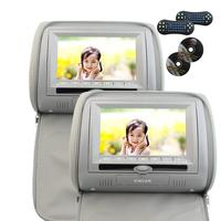 2x7 Grey Color Digital Screen A Pair Of 2 Car Headrest Monitor Pillow DVD Player With