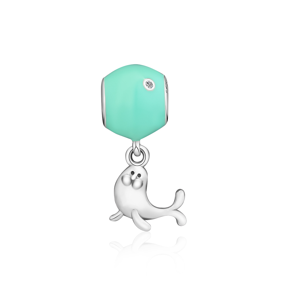 Fandola CKK 100% 925 Sterling Silver Curious Seal Animal Jewelery Green Enamel Fits Pandora Bracelet Charms Jewelry Making GiftFandola CKK 100% 925 Sterling Silver Curious Seal Animal Jewelery Green Enamel Fits Pandora Bracelet Charms Jewelry Making Gift