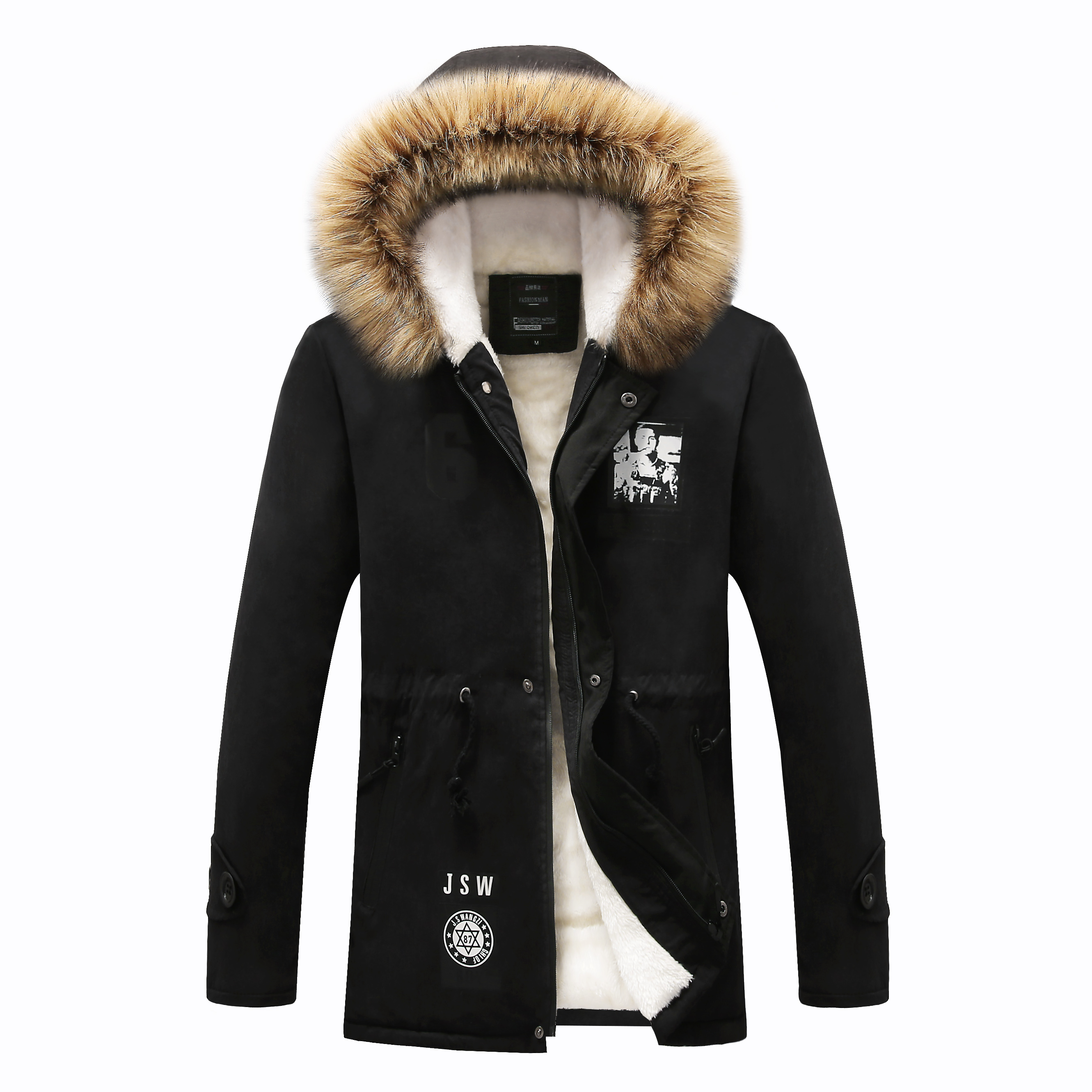 Fashion Fur Liner Jacket   Parkas   Men 2019 Winter Thick Warm Men's Jacket and Coats Casual Hooded Coat Outwears Lovers Clothing