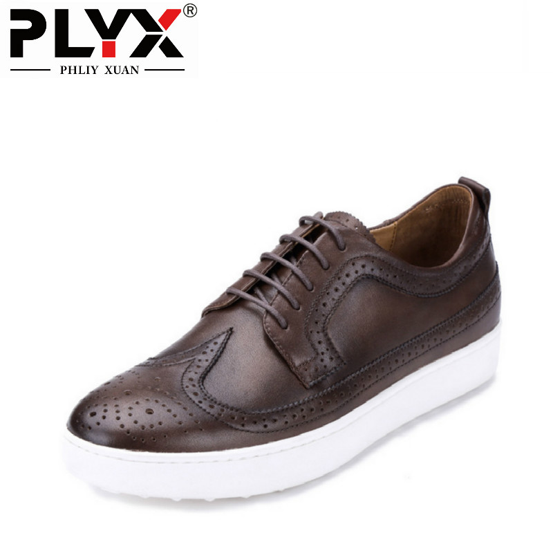 PHLIY XUAN New 2018 Vintage Mens Casual Shoes Breathable Brogue Shoes Genuine Leather Chaussure Homme De Marque Mocassin Homme стойка для клавишных ultimate js mps1