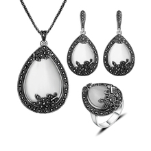 Declaración Vintage Joyería de Plata Antigua Plateó Collar Colgante Gota de Agua Establece Sistemas de la Joyería de Piedra Natural White Opal