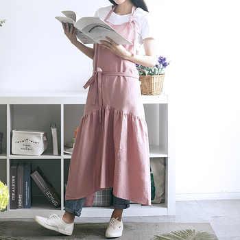 Brief Nordic Wind Mermaid Fairy Cotton Linen Cooking Kitchen Apron For Woman dress flower Shop smock Hairdresser bib Custom Logo