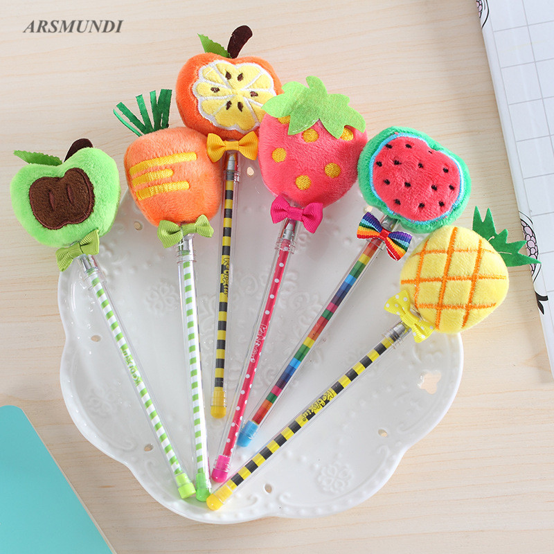 Creative Plush Fruit Gel Pen Cute Pen Stationary Kawaii School Supplies Gel Ink Pen School Stationary Office Supplies цена