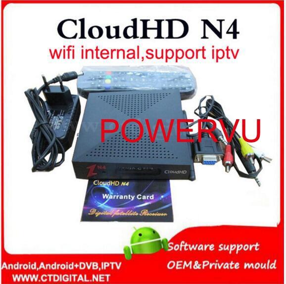 Cloud HD N4 DVB-S2 Satellite Receiver powervu CloudHD N4 Without IKS wifi internal youtube camd freesat v8 super cloud n4 hd i box rs232 dvb s satellite smart sharing nagra 3 dongle black