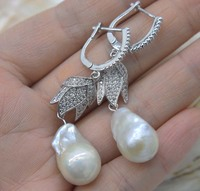 one pair white freshwater keshi pearl baroque 9 16mm hook earrings wholesale beads FPPJ