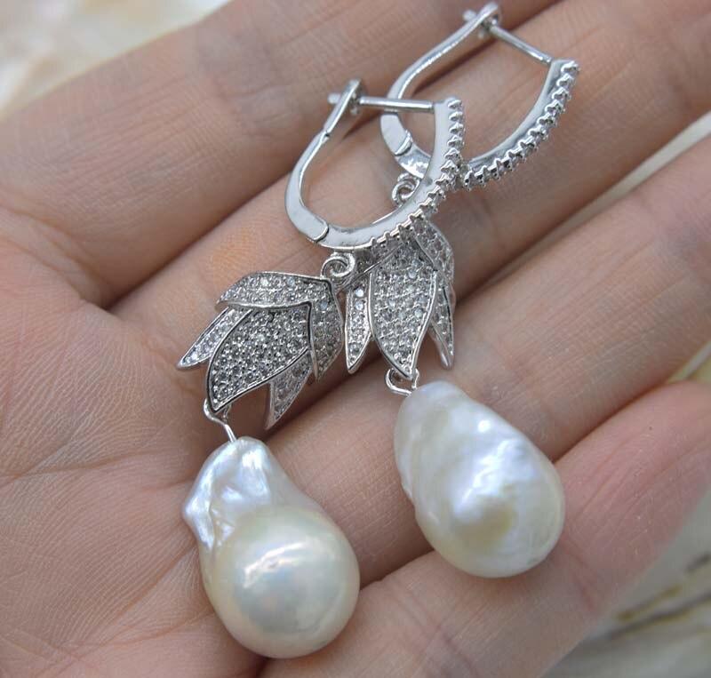 Keshi-pendientes de gancho de 9-16mm, perlas blancas de agua dulce, barrocas, FPPJ, venta al por mayor, 1 par