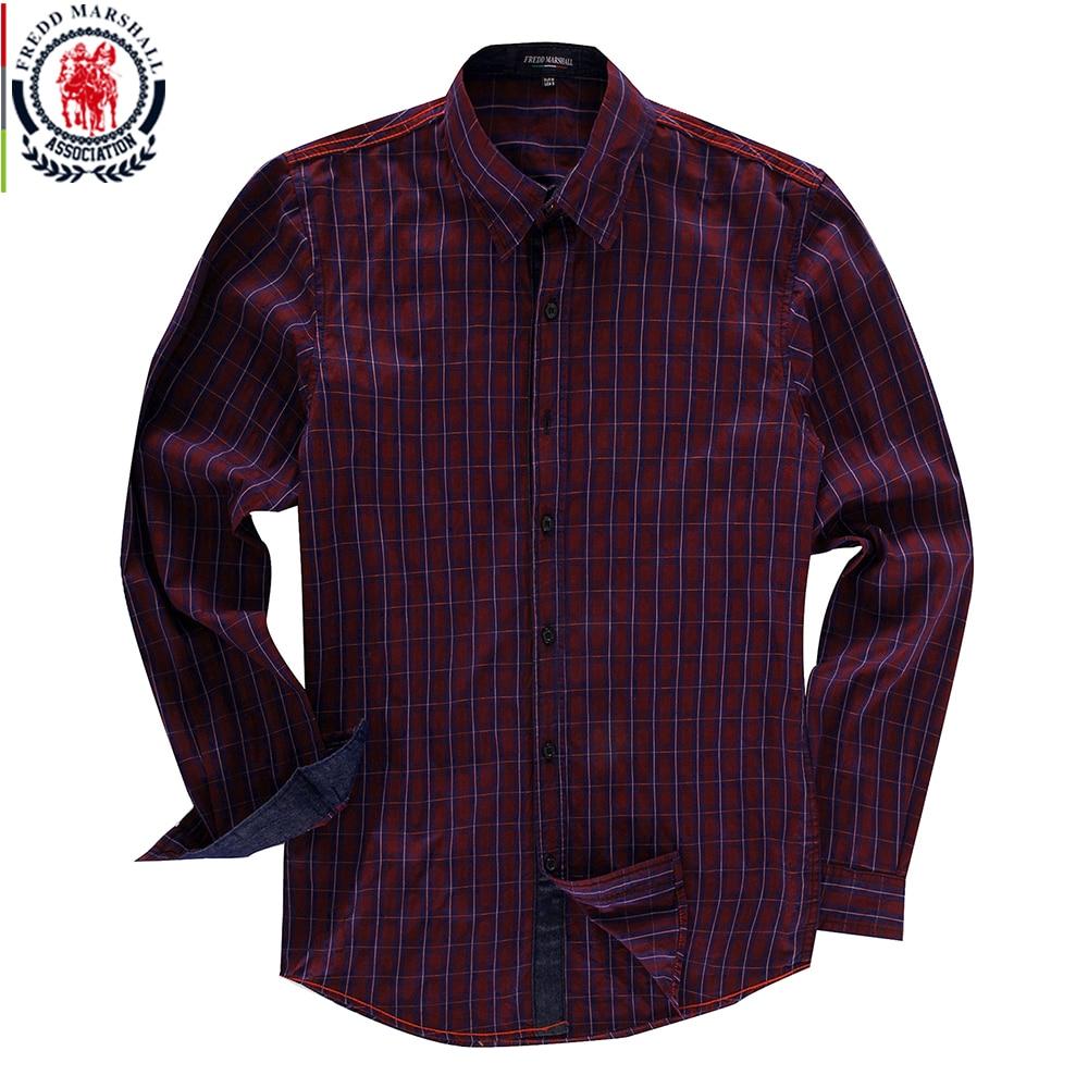 Fredd Marshall 2018 Long Sleeve Checked Shirt Mens Dress Shirts 100