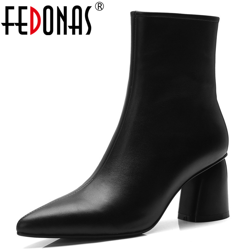 цена на FEDONAS Women Pointed Toe High Heels Ankle Boots Shoes Woman High Heels Autumn Winter Leather Elegant Office Pumps Basic Boots