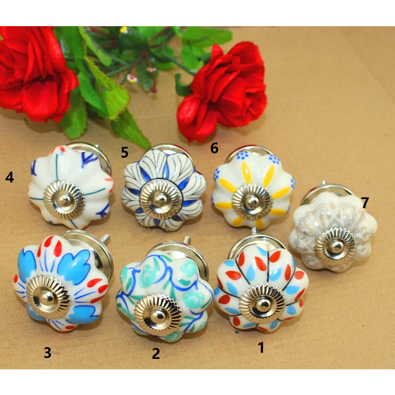 Vintage Pumpkin Cabinet Knobs European Furniture Handles Ceramic Door Knob Drawer Cupboard Kitchen Pull Knobs,40*25mm,2Pcs vintage bird ceramic door knob children room cupboard cabinet drawer suitable kitchen furniture home pull handle with screws