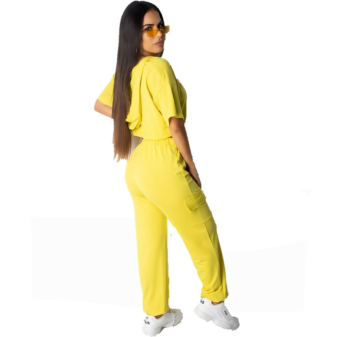 Neon Yellow Plus Size 2 Piece Tracksuit Women Clothes Short Sleeve Hooded Crop Top And Drawstring Long Pants Casual Sweatsuits