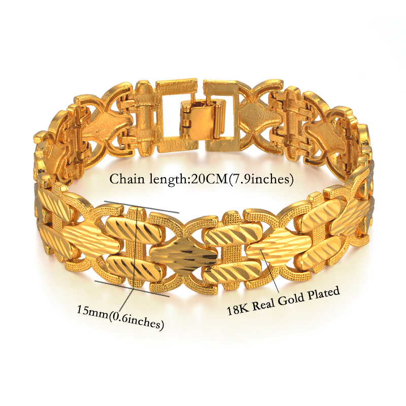 Male Bracelet Women Jewelry 12MM Pulseira Masculine Trendy Gold Color Chunky Chain Link Bracelet Wholesale Bileklik For Man P166 10