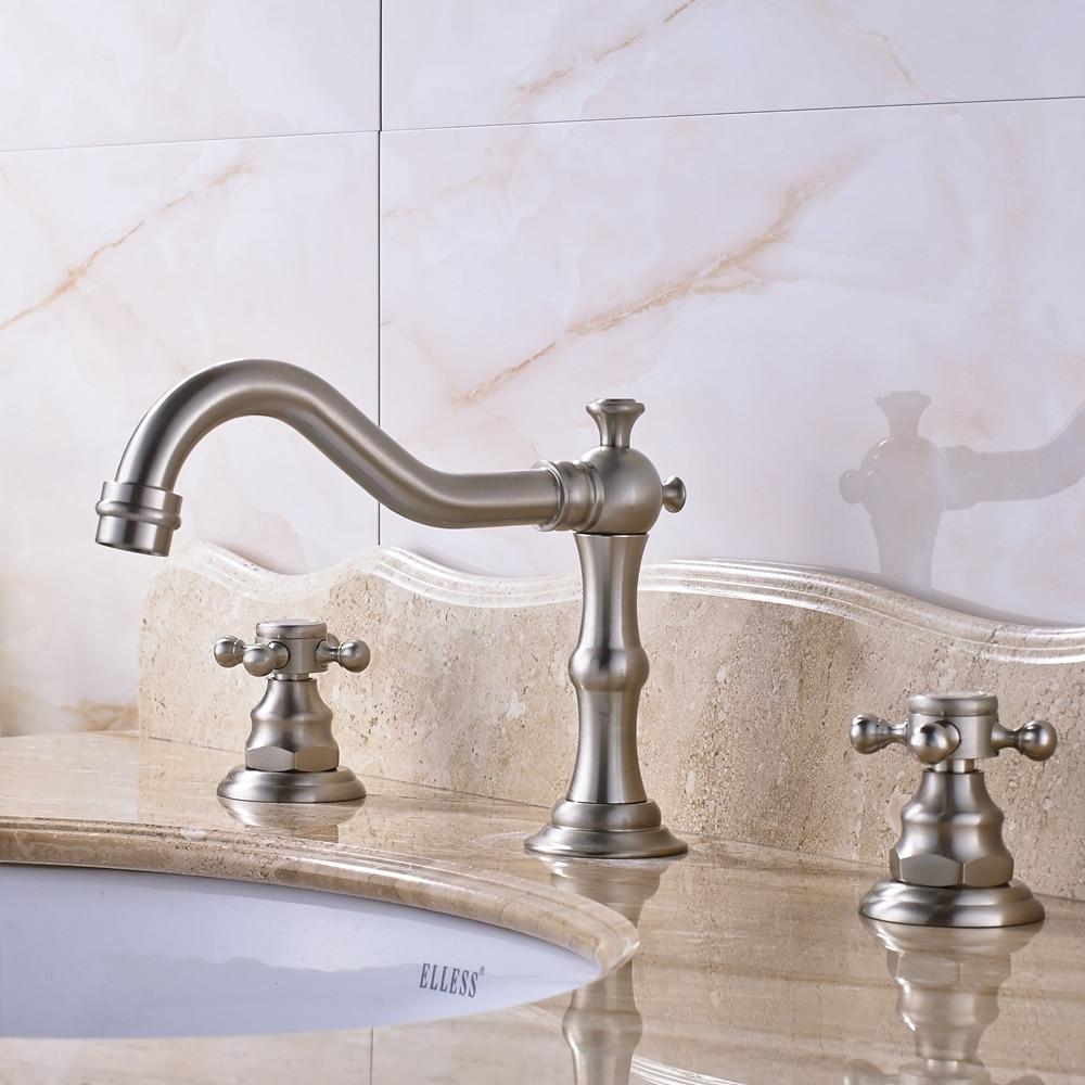 Brushed Nickel Bathroom Sink Faucet Mixer Tap Widespread Dual Handles 8 Sink Faucet Tap antique brass widespread bathroom faucet 3pcs 8 sink mixer tap dual handles