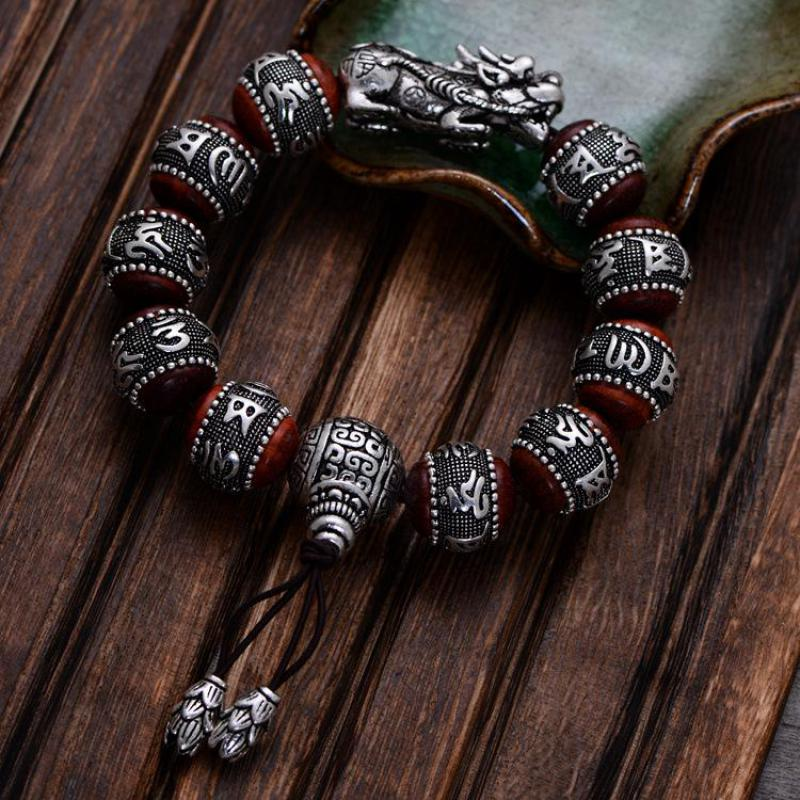 Natural Red Sandalwood Carving Six Words Mantra Beads Bracelets For Men And Women Real 990 Sterling Silver Pixiu Charm Bracelet 16mm round sandalwood thai silver beads bracelet for women buddhism six letter scripture women men fine silver 990 jewelry sb69