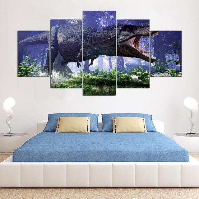 Canvas Schilderijen Gedrukt 5 Stuks Jurassic Park Dinosaurussen ...