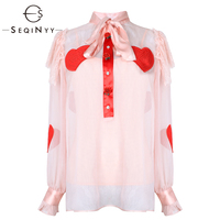 SEQINYY Chiffon Shirt 2019 Spring Summer New Fashion High Quality Red Heart Rose Button Lace Pink / Black Loose Women Blouse