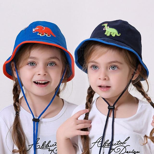 Summer 0-4 years old Baby girls boys bucket hats sun beach beanie vacation cap  kids outdoor fishing design caps dinosaur hats d7680146e5ce