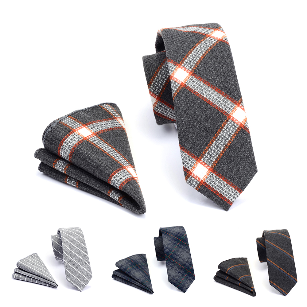 GUSLESON Quality 6cm Cotton Ties And Pocket Square Set Plaid Slim Tie For Men Striped Skinny Necktie Suit Party Wedding