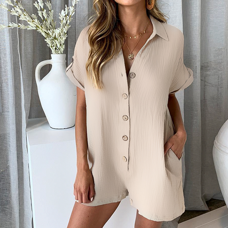 NLW Button Casual Summer Women Playsuits Solid Beach High Fashion Playsuit Rompers Loose Short Jumpsuit Romper 2019-in Rompers from Womens Clothing on Aliexpresscom  Alibaba Group
