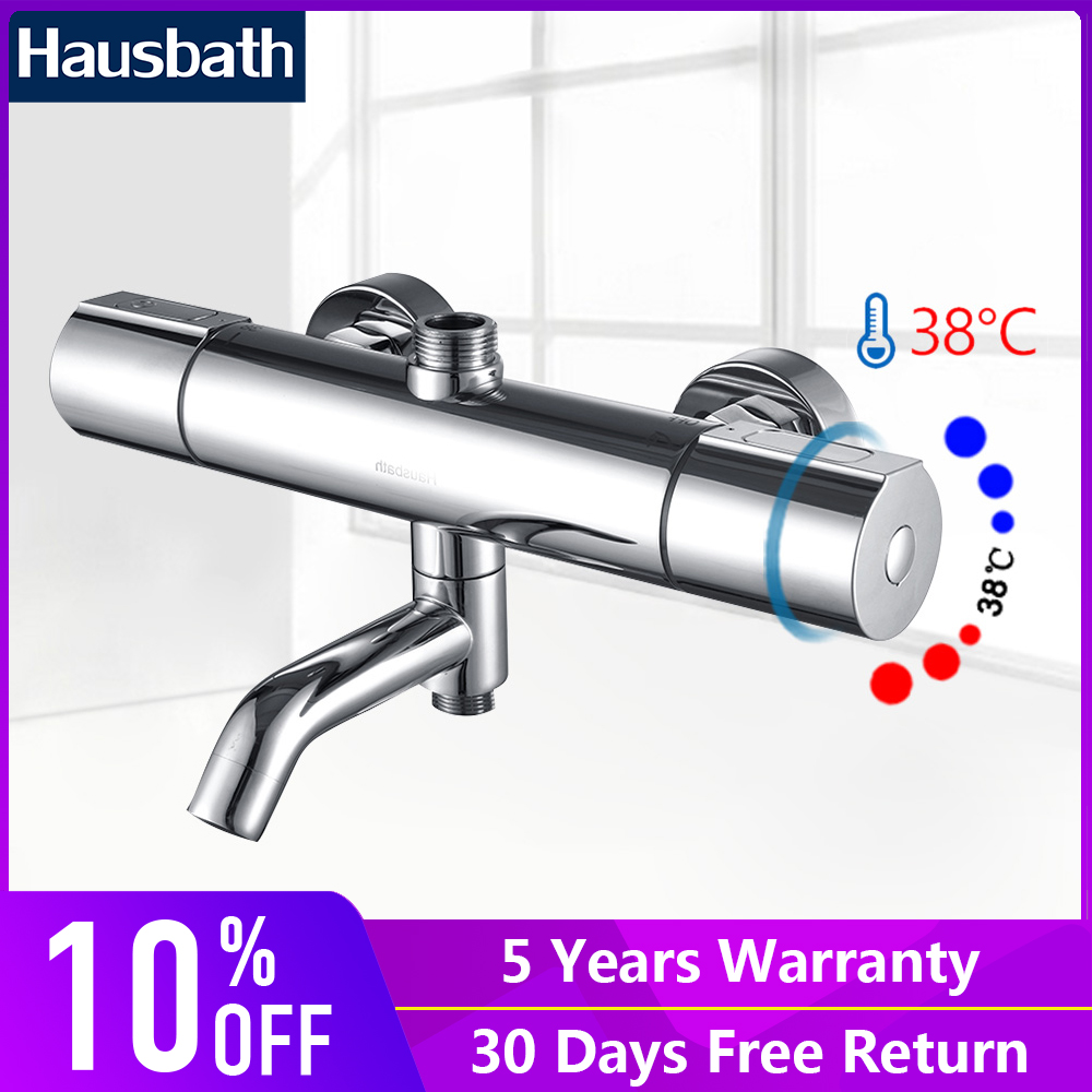 Bathroom Thermostatic Faucets Shower Basin Mixer Tap Temperature Controller Mixing Valve Mixer Chrome Finishing Shower Set