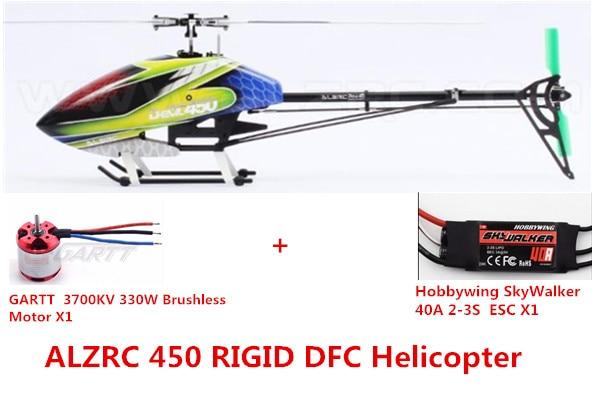 ALZRC - Devil 450 RIGID SDC/DFC KIT Helicopter- Black alzrc devil 500 pro sdc dfc brushless esc motor carbon fiber structure 3300mah battery flybarless gyro system rc helicopter kit