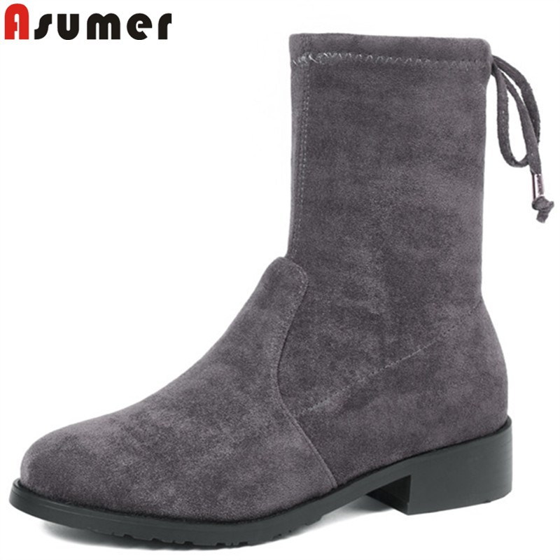 ASUMER 2019 new ankle boots round toe cross tied flock low heels shoes woman comfortable ladies autumn winter boots ASUMER 2019 new ankle boots round toe cross tied flock low heels shoes woman comfortable ladies autumn winter boots