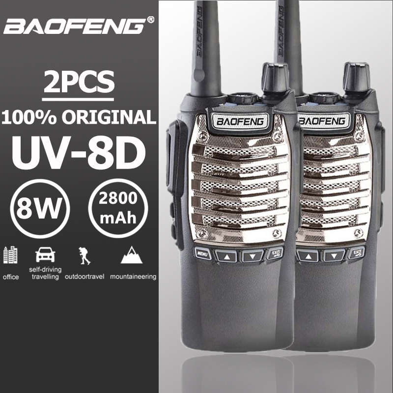 2 pcs Baofeng UV-8d A Portata di mano Walkie Talkie Doppio PTT 8 W UHF 2800 mAh Lungo Standby Portatile Ham Radio Baofeng UV-82 Two Way Radio UV 82