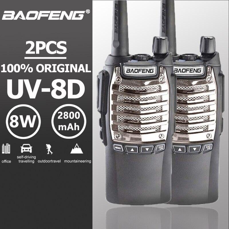 2 pcs Baofeng UV-8d Handy Talkie Walkie Double PTT 8 W UHF 2800 mAh Longue Attente Portable Ham Radio Baofeng UV-82 Deux Way Radio UV 82