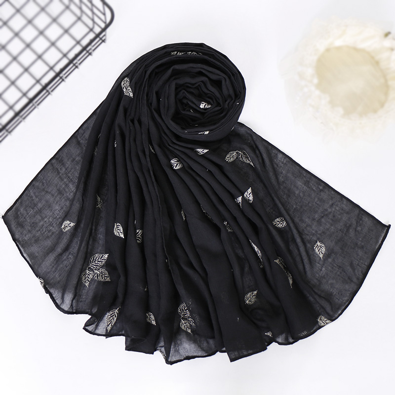 Embroider Cotton hijab leaf scarf maxi wraps flower scarves headhands shawls muslim long islamic scarves 10pcs
