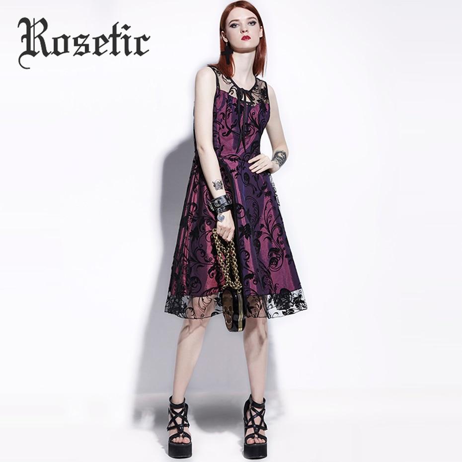 Rosetic Gothic Kleid Spitze Patchwork Frauen Sommer A-Line Vintage ...