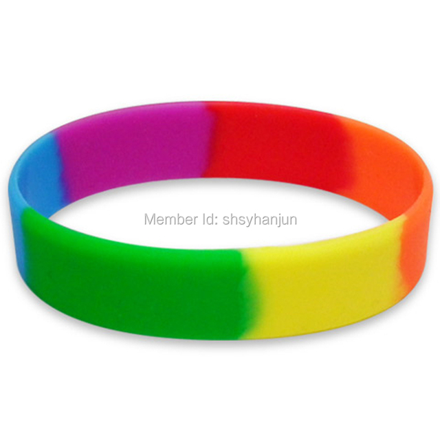 300pcs Rainbow Pride Wristband Silicone Bracelets Red Orange Yellow Green Blue Purple Segmented Free Shipping By