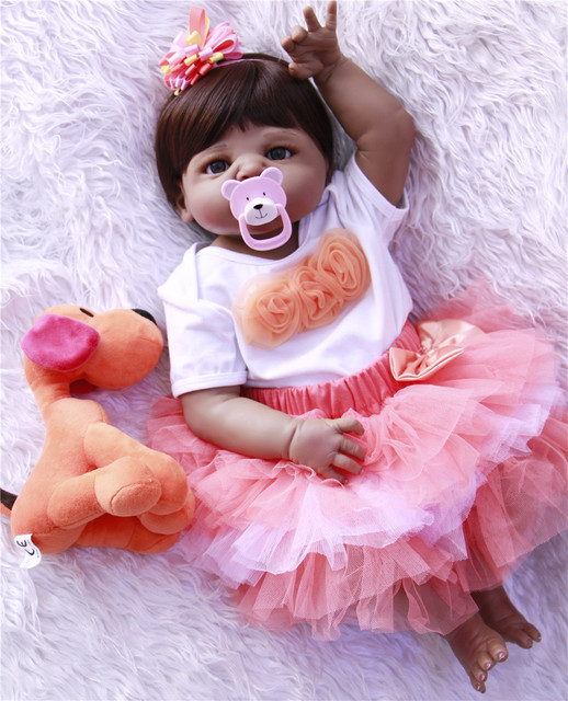 d42c27cdb 55cm Full Body Silicone Reborn Baby Doll Toy 22inch Black Skin Newborn Girl  Princess bebe reborn for girls NPKCOLLECTION
