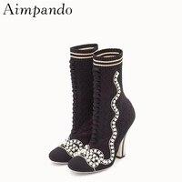 Новые Изысканные шерстяной вязаный носок пинетки Для женщин Строка из бисера круглый галстук в полоску шпилька тонкий ботильоны Обувь для