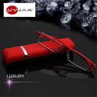 UVLAIK Alta Qualidade HD Óculos de Leitura TR90 Metade Quadro Antifadiga portátil Óculos de Leitura para As Mulheres Homens 1.5 2.0 2.5 3.0 3.5
