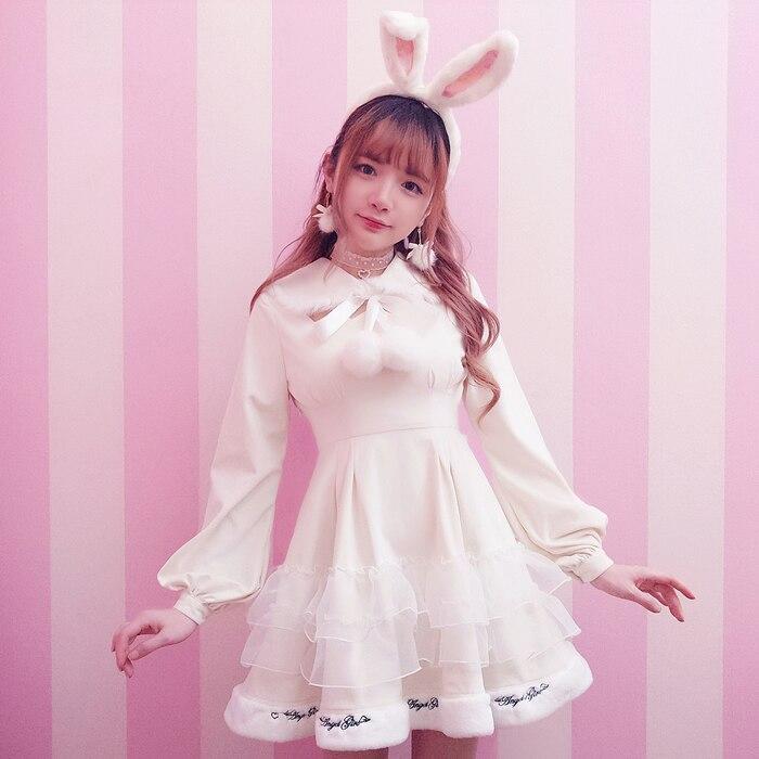 Princess sweet lolita dress Bobon21 white princess black queen Plush embroidery dress hair ball wings collar