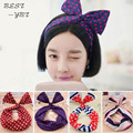 Fashion Korean Women Headbands Bunny Ear Elastic Hair Ties Ropes Camellias Dots Print Rubber Hair Accessories Para Cabelo