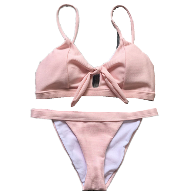 a3779d8ffd ITFABS Sexy Womens Bikini Set 2018 Summer beach Push-Up Bandage bowknot Swimsuit  pink Swimwear Bathing Suit women female